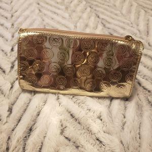 Michael Kors Gold Vinyl Makeup Bag